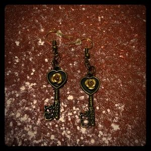 Antique Gold Skeleton Key Earrings